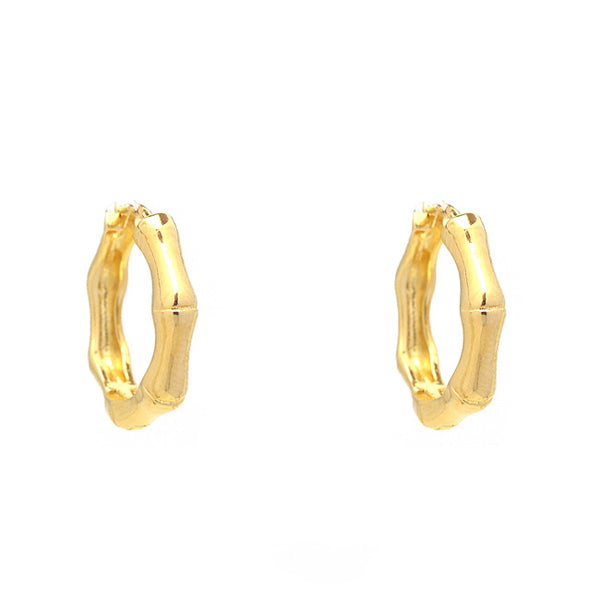Gold Filled Bamboo Hoop Earrings