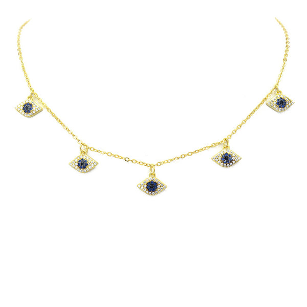 Gold Cz Evil Eye Charm Necklace