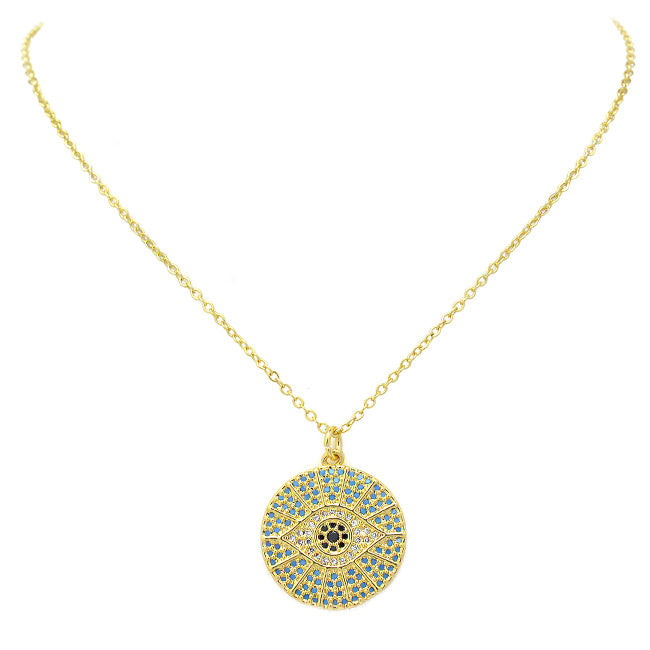 Gold CZ Evil Eye Pendant Necklace