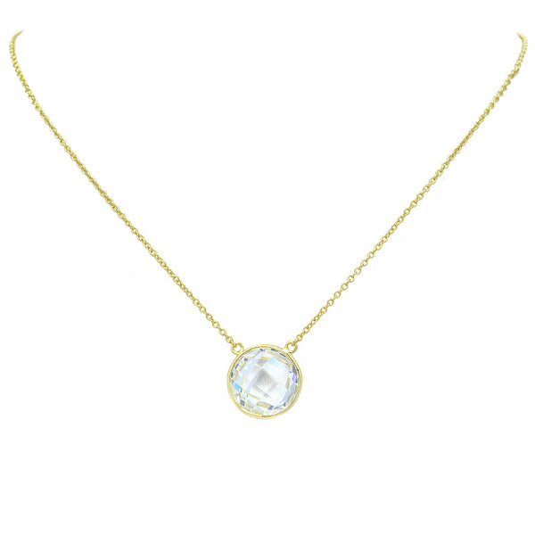 Sterling Silver Gold CZ Pendant Necklace