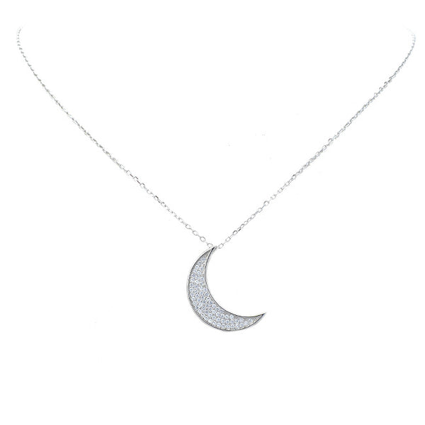 Sterling Silver CZ Moon Pendant Necklace