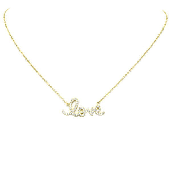 Sterling Silver Cz Love Pendant Necklace