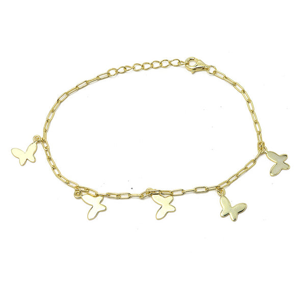 Sterling Silver Gold Plated Butterfly Charm Bracelet