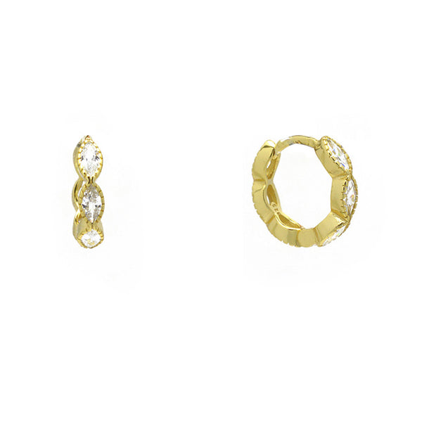 Sterling Silver Gold Plated CZ Huggie Earring