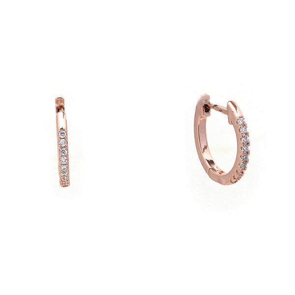 Rose Gold Cubic Zirconia Hoop Earrings