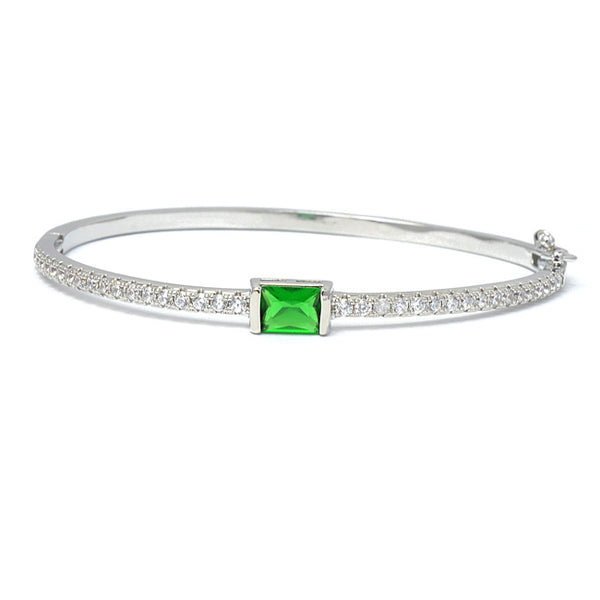 Silver Emerald Green Cubic Zirconia Bangle Bracelet