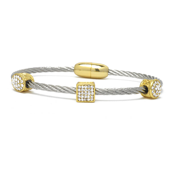 Two Tone Twisted Cable CZ Bangle