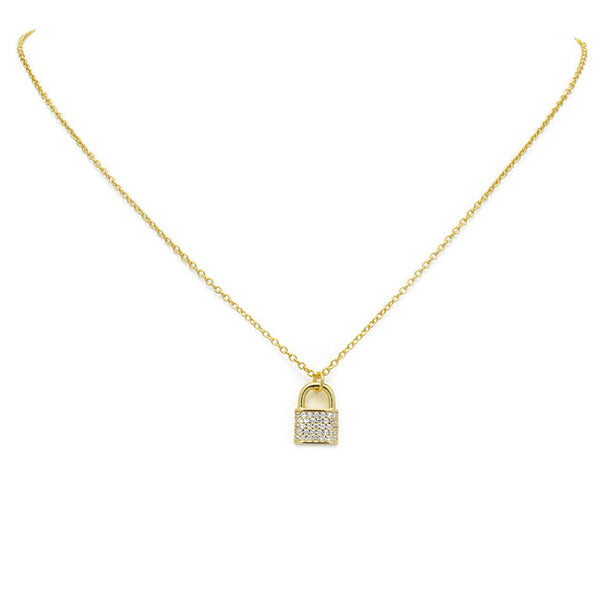 Sterling Silver Gold CZ Lock Necklace