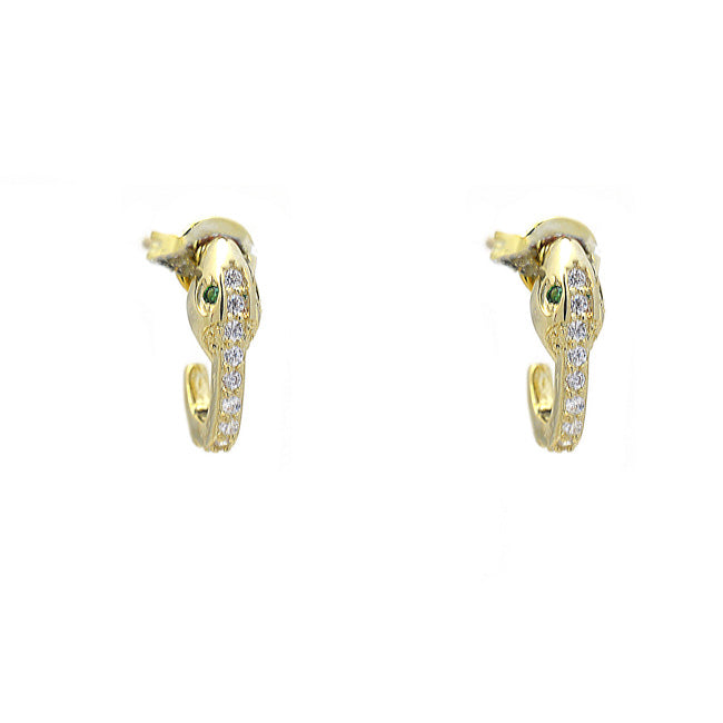 Gold Cubic Zirconia Snake Post Earring