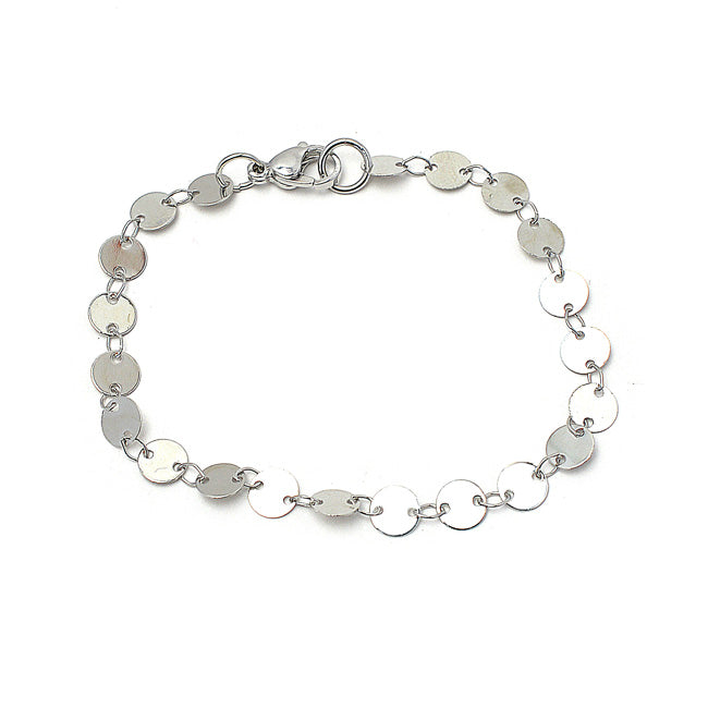 Silver Plated Disc Chain Bracelet