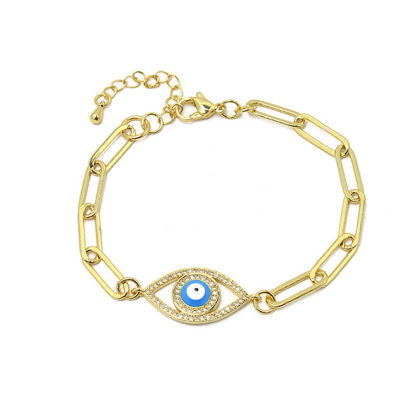 Gold Cubic Zirconia Evil Eye Linked Chain Bracelet