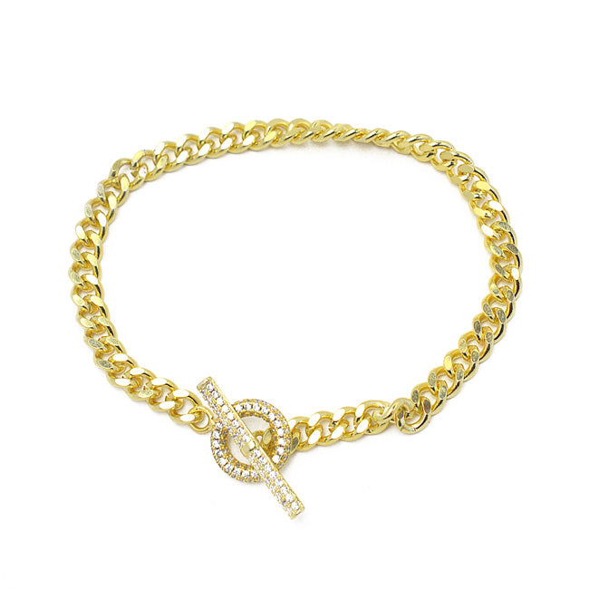 Gold Cubic Zirconia Linked Chain Toggle Bracelet