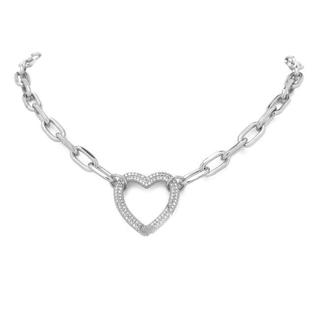 Silver Linked Chain Necklace with CZ Heart Station