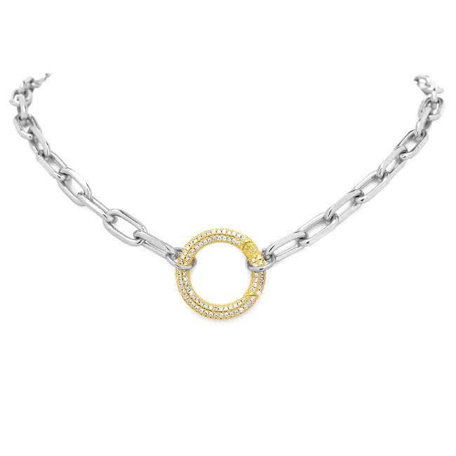 Silver Linked Chain Necklace with Gold CZ Station