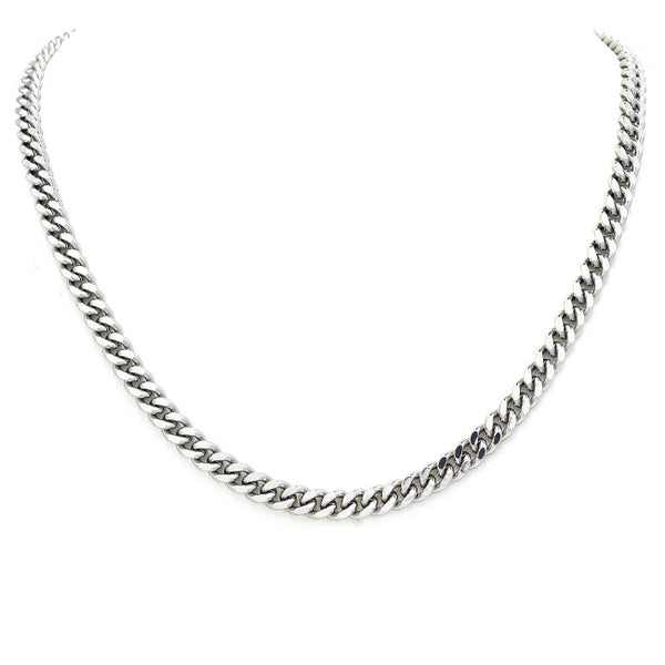 Silver Cuban Linked Chain Necklace