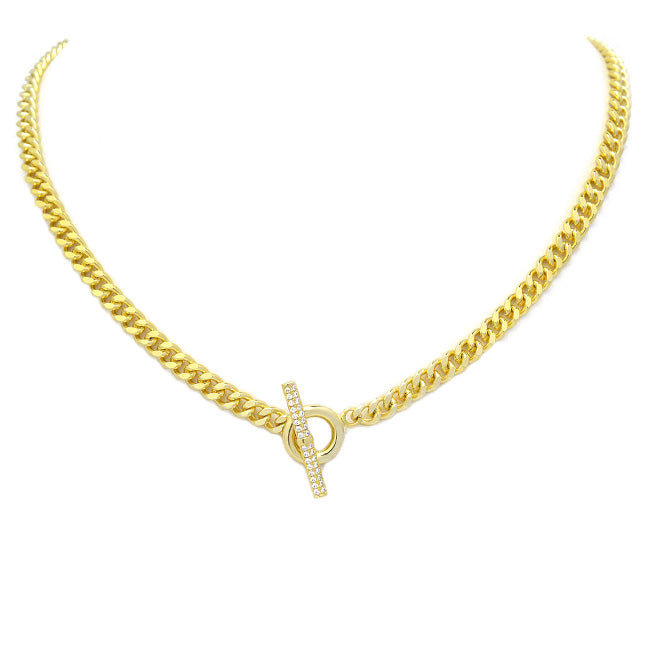 Gold Cubic Zirconia Linked Chain Necklace