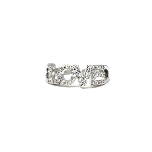 Silver Cz Love Adjustable Ring