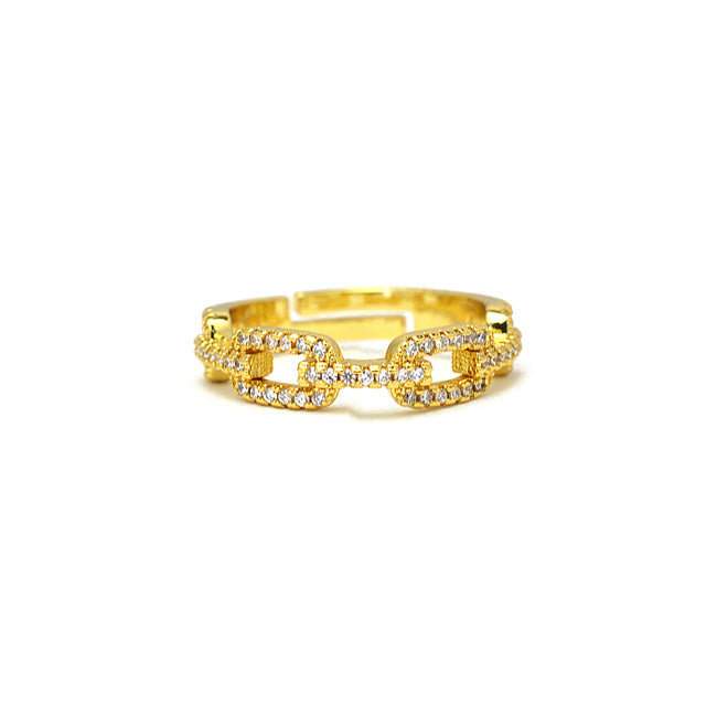 Gold Cz Chain Adjustable Ring