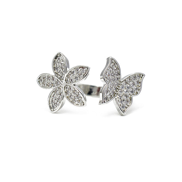 Silver Cz Butterfly Adjustable Ring