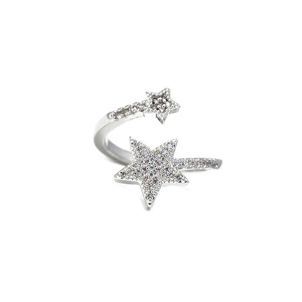 Silver Cz Star Adjustable Ring