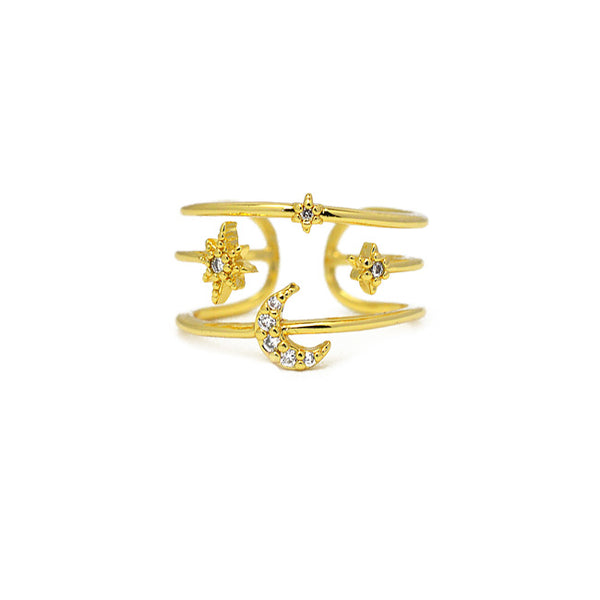 Gold Cz Moon Adjustable Ring