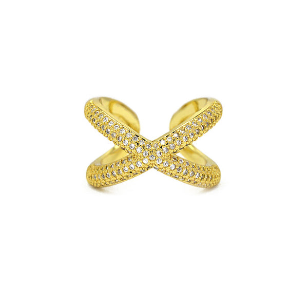 Gold CZ X Adjustable Ring