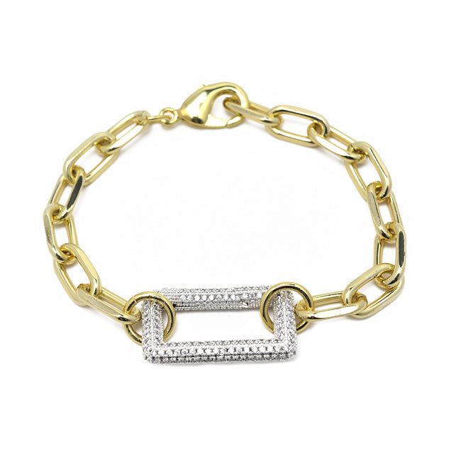 gold cz Linked Chain Bracelet