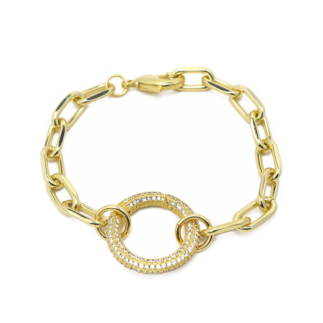 cz gold linked chain bracelet