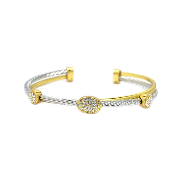 Twisted Cable CZ Cuff Bracelet