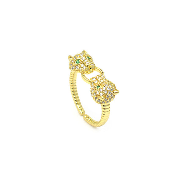 Gold Cubic Zirconia Adjustable Jaguar Ring