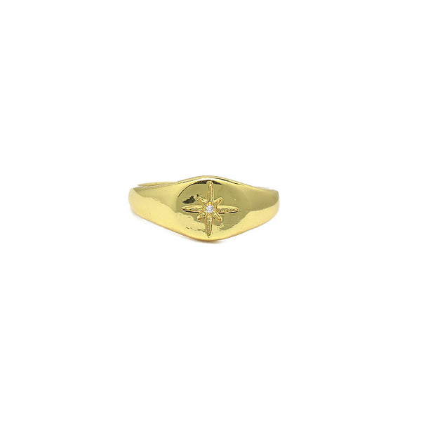 Gold Cz Adjustable Starburst Ring