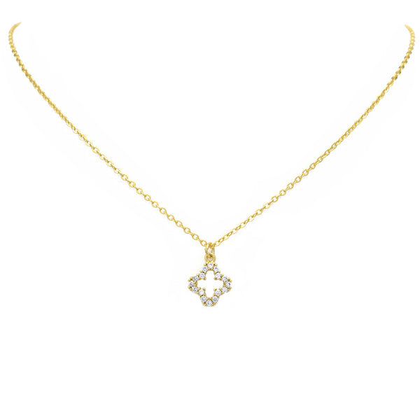 Gold Cz Clover Pendant Necklace