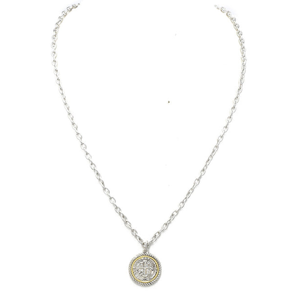 Two Tone Coin Chain Necklace