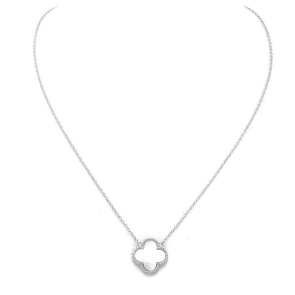 Sterling Silver Mother of Pearl Clover Necklace