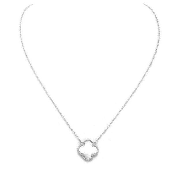 Sterling Silver Pearl Clover Necklace