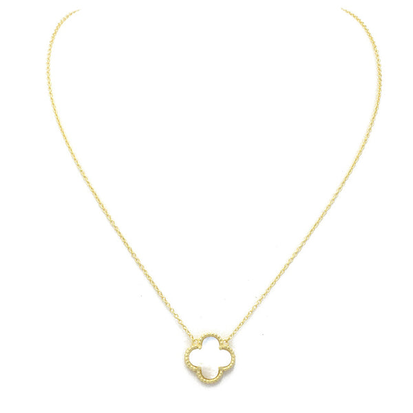 Sterling Silver Gold Plated Mother of Pearl Clover Necklace