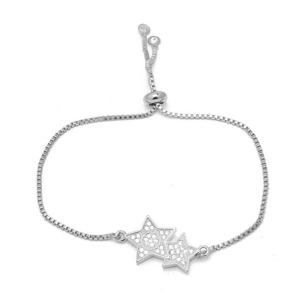 Silver Cubic Zirconia Pave Star Pull Tie Bracelet