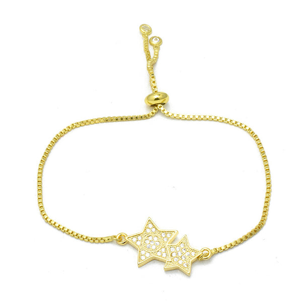 Gold Cubic Zirconia Pave Star Pull Tie Bracelet