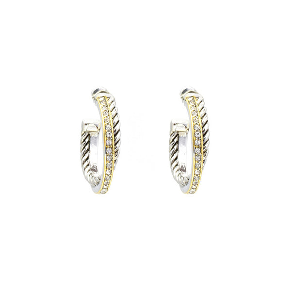 Two Tone Twisted Cable CZ Hoop Earring