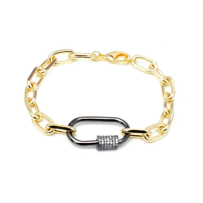 Gold Linked Chain Bracelet with Gunmetal CZ Station