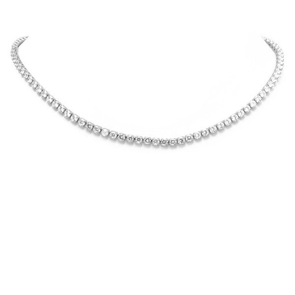 Silver Cubic Zirconia Studded Collar Necklace