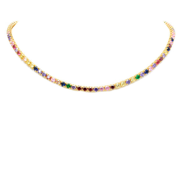 Gold Multi Color Cubic Zirconia Studded Collar Necklace