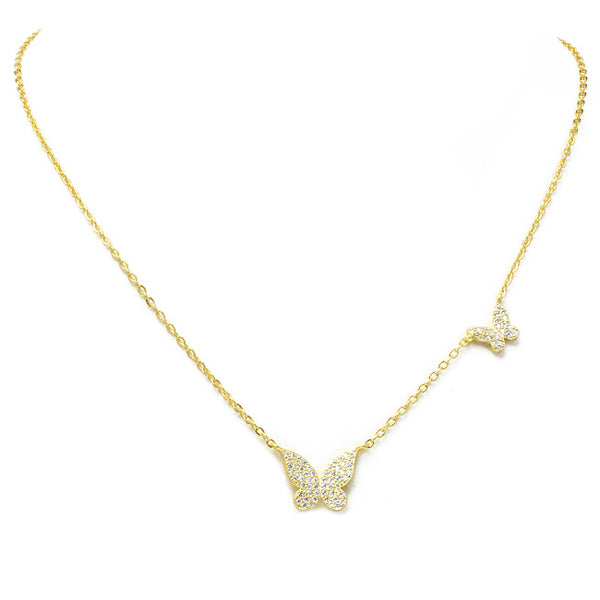 Gold Cubic Zirconia Pave Butterfly Pendant Necklace