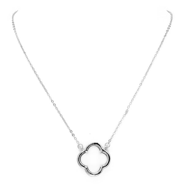 Silver & Pearl Clover Pendant Necklace