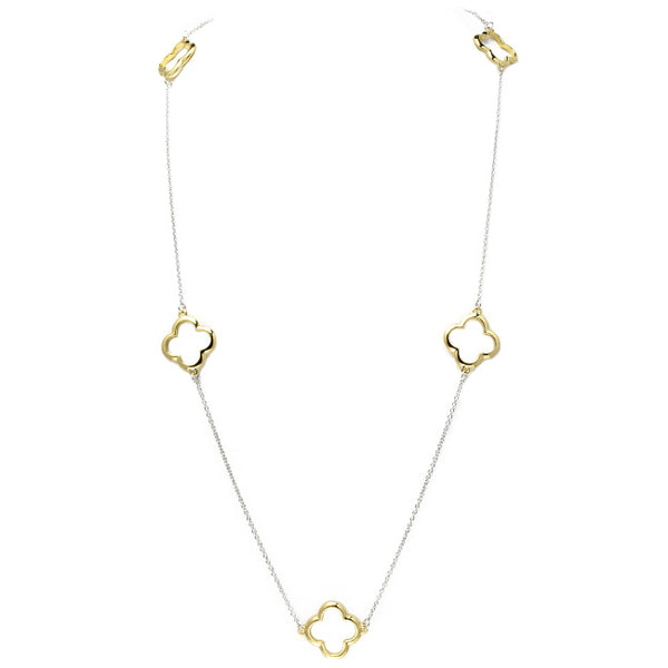 Silver Chain Necklace with Open Gold Clover Stations