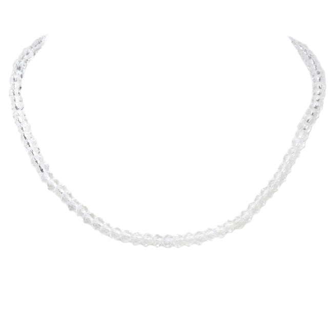 White Crystal Beaded Choker Necklace