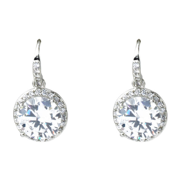 Silver Cubic Zirconia Round Dangle Earrings