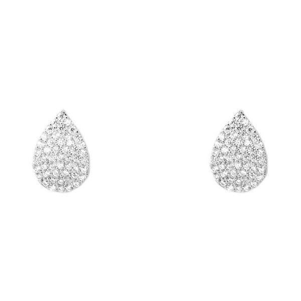 Silver Cubic Zirconia Teardrop Post Earrings