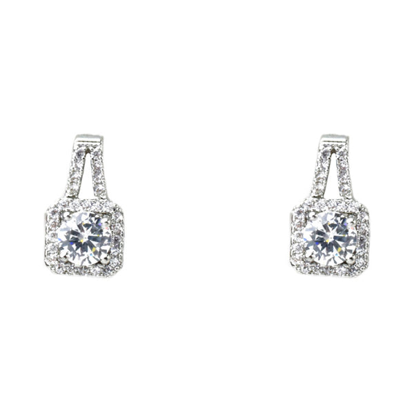 Silver Cubic Zirconia Princess Cut Dangle Earrings