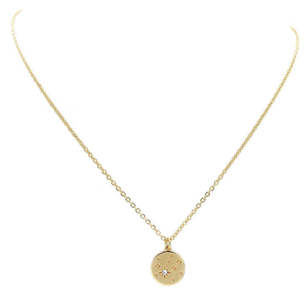 Gold Cz Starburst Pendant Necklace